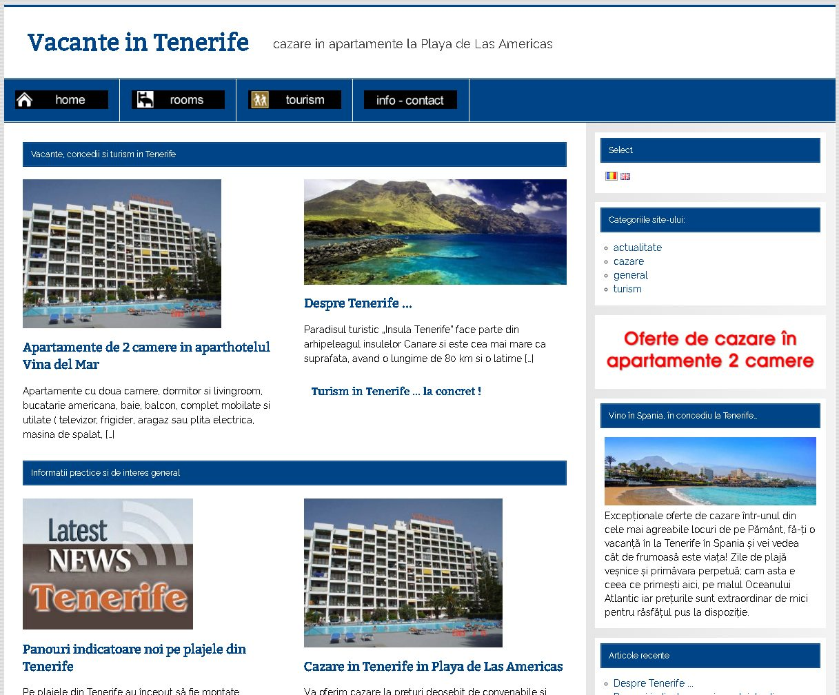 captura ecran website promovare tenerife